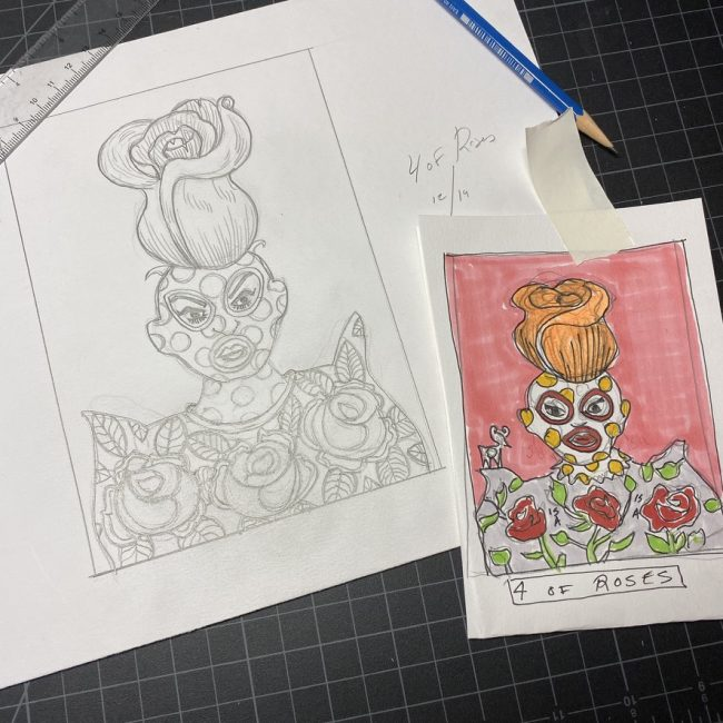 Art making process for the Outsider Tarot by Bobby Abate.